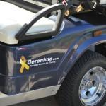 Blue Golf Cart with Geronimo logo