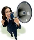 Girl holds megaphone