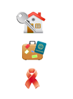 vacation rental and charity icons