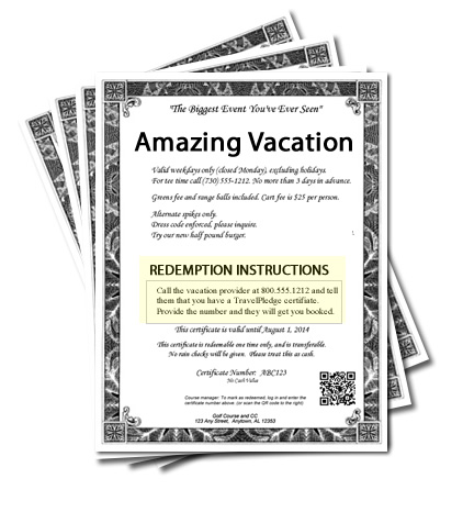 vacation certificate for charity auction shows redemption instructions